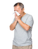Old man sneeze Stock Images