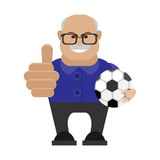 Old man with a soccer ball Stock Images
