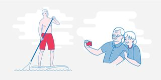 The old man Stand Up Paddling vector illustration