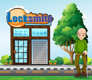 An old man standing in front of the locksmith building. Illustration of an old man standing in front of the locksmith building Stock Photography