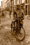 Old Man Stary Marych Isolated on Sepia Tone Blurred Background. Captured in Poznan Poland Stock Images