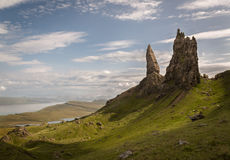 Old Man of Storr on the Isle of Skye in the Highlands of Scotland. The Old Man of Storr on the Isle of Skye in the Highlands of Scotland stock photo