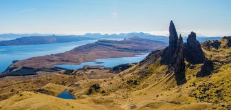 The Old Man of Storr in Scotland. The Old Man of Storr on the Isle of Skye in Scotland royalty free stock photography