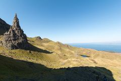 Old Man of Storr, Isle of Skye in Scotland. United Kingdom. Beautiful landscape from the ancient rocks of Old Man of  Storr Scotland. United Kingdom Stock Photos