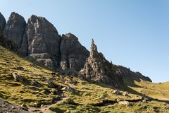 Old Man of Storr, Isle of Skye in Scotland. United Kingdom. Scenic view of the ancient rocks of Old Man of  Storr Scotland. United Kingdom Stock Images