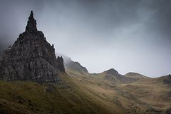 The Old Man of Storr on the Isle of Skye in Scotland. View of the old man of storr under the mist, on the Isle of Skye in Scotland, UK Stock Photos