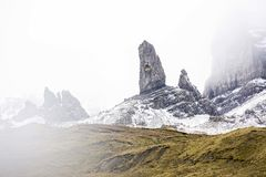 The Old man of Storr in the mist stock images