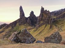 The Old Man of Storr is one of the most photographed wonders in the world. The Isle of Skye, Highlands in Scotland, United Kingdom Royalty Free Stock Photography