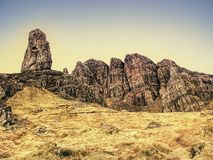 The Old Man of Storr is one of the most photographed wonders in the world. The Isle of Skye, Highlands in Scotland, United Kingdom Stock Image
