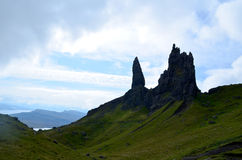 Old Man of Storr Rocks. Jutting rock formations of the Old Man of Storr in Scotland Stock Photo