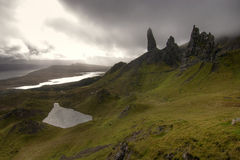 Old man of Storr in Scotland. Wonderful stone formatations of the old man of Storr in Scotland. This is on the Isle of Skye Stock Images