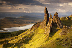 Old Man of Storr. Sunrise at Old Man of Storr, Isle of Skye, Scotland, UK royalty free stock image