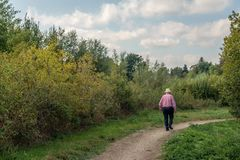 Old man with straw hat walks over a narrow path. Unidentified old man with straw hat walks over a curved narrow path in a Dutch park. It is a cloudy day in the royalty free stock image