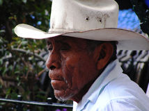 Old man on the street in Mexican Hat royalty free stock image