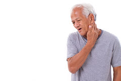 Old man suffering from neck muscle inflammation or injury Royalty Free Stock Photos