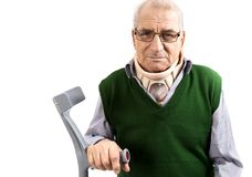 Old man with a surgical cervical collar supporting in a walking Stock Photos