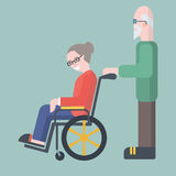 Old man take care of elderly woman on wheelchair vector illustra Stock Images