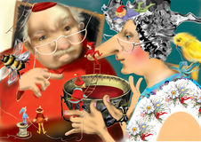 Old man talking to an old woman drinking tea from a huge teacup. Fairy tale, raster illustration over a blue green background, children illustration Stock Image