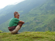 Old man from Tallo Chipla - Nepal Stock Photography