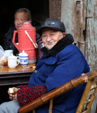 The old man in the teahouse, chengdu, china Stock Images