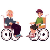 Old man and teenaged boy sitting in wheelchairs Royalty Free Stock Images