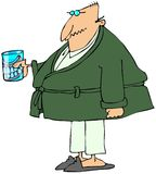 Old man with teeth in a glass. This illustration depicts an old man in a robe and pajamas holding a glass containing his false teeth Stock Image