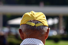 Old Man thinking. Old man thinks about horseraces royalty free stock photos