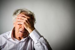 Grief. Old man in thoughts. Royalty Free Stock Photos