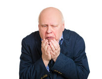 Old man throwing up Stock Photography