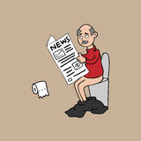 Old man in toilet and newspaper. Old man toilet newspaper cartoon vector Royalty Free Stock Photography