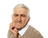 Old man with tooth ache Stock Photography