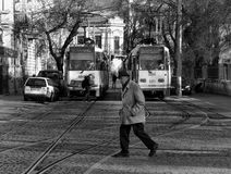 The old man & trams Royalty Free Stock Images