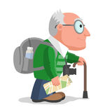 Old man is travelling Royalty Free Stock Photos