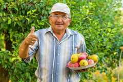 An old man with a tray of fruit Stock Photos