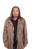 Old Man in Trench Coat Frowning Royalty Free Stock Photo