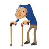 Old man with two walking sticks. Vector illustration of a smiling old man with two walking sticks Royalty Free Stock Images