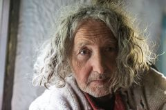 Old man with unkempt long gray hair Stock Photography