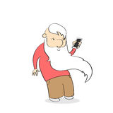 Old Man Using Cell Smart Phone Stock Photography