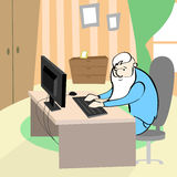 Old Man Using Computer Senior Grandfather Sitting at Desk Home Royalty Free Stock Photography