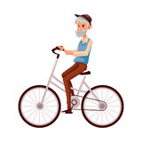 ecaec4965774 Bearded Man In Vest And Bow Tie Riding Bicycle, Cycling Stock Vector ...