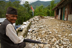 Old man of the village of Sindhupalchowk after the earthquakes, Royalty Free Stock Photos
