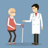 Old Man visit a Doctor. Old man visit a family doctor. Vector illustration flat design. Doctor with an elderly retired patient Royalty Free Stock Photos
