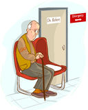 Old man waiting in waiting room Royalty Free Stock Photography