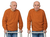 Old man on a walker collage Royalty Free Stock Photo
