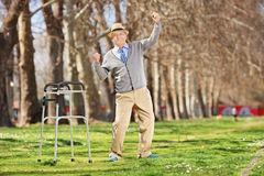 Old man with walker gesturing happiness outdoors. Old man with walker gesturing happiness in park Royalty Free Stock Photo