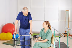 Old man with walker in physical therapy Royalty Free Stock Images