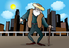 Old man walking around Stock Photo