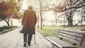 Old man walking in the park royalty free stock photography