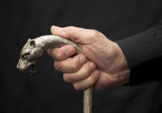 Old man with walking stick Stock Images