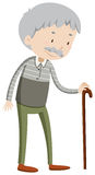 Old man with walking stick Stock Photo